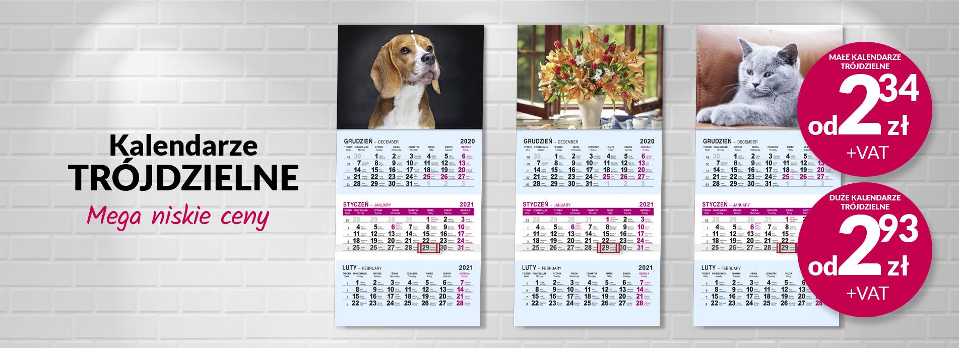 Kalendarze trójdzielne i jednodzielne
